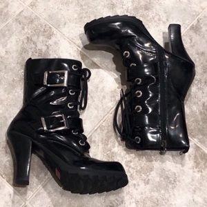 BONGO Paris lace up heeled black combat bo…
